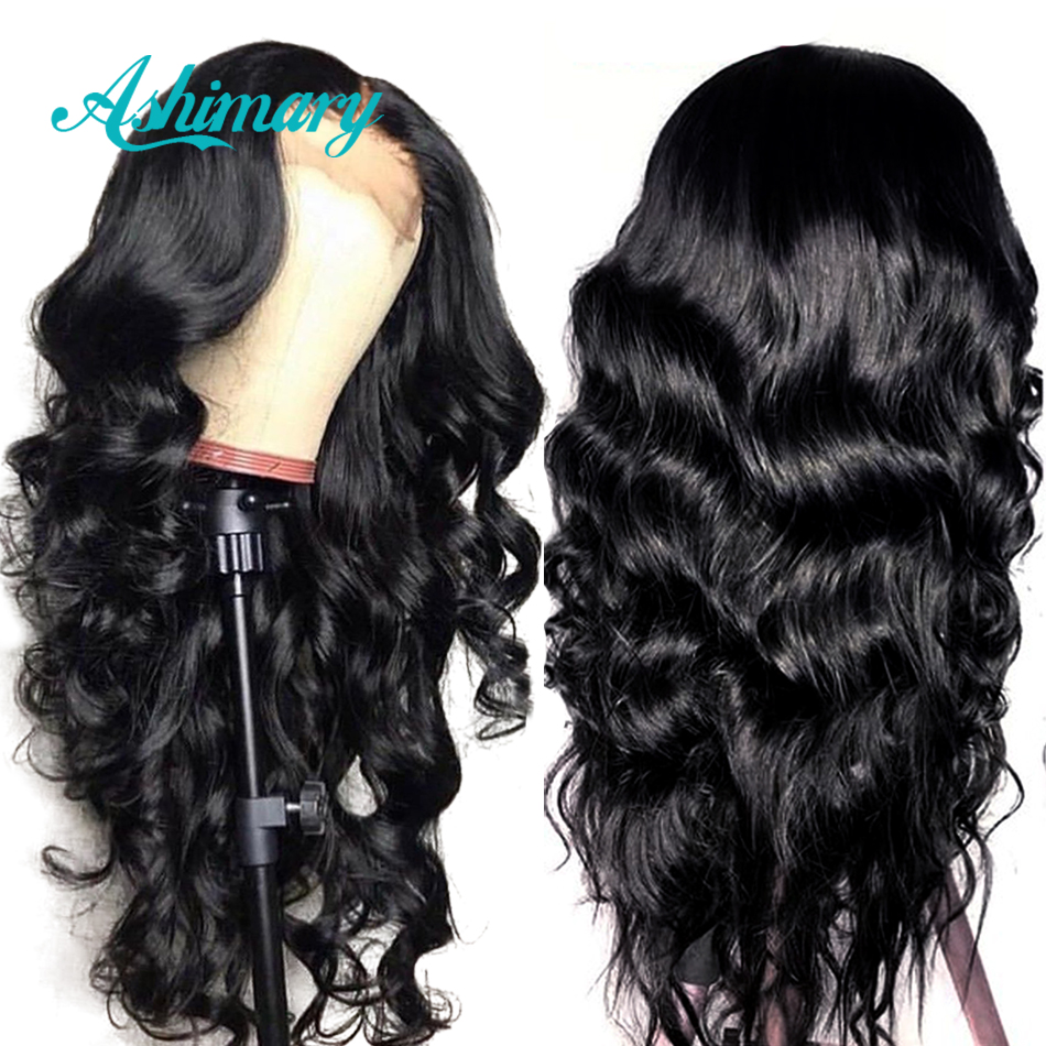 Pre Plucked Full Lace Human Hair Wigs Remy Brazilian Body Wave Wig Full Lace Wigs with Baby Hair Bleached Knots Ashimary(China)