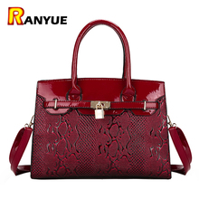 Red Blue Black Patent Leather Tote Bags Women Handbag Luxury Serpentine Handbags Women Bags Designer High Quality Famous Brands