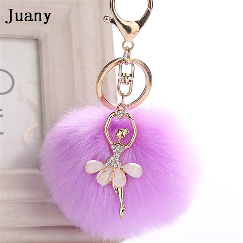rabbit fur pompom key chain fake rabbit car keychain fur ball keychain pompom girl women charm bag  14