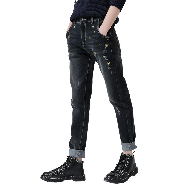 Toyouth New Winter Rivet Black Milled Jeans Women Long Jeans Loose Straight Casual Fashion Pants