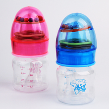 High quality 6oml mini baby feeding bottle PP cartoon fruit juice bottle with Toy Rattles