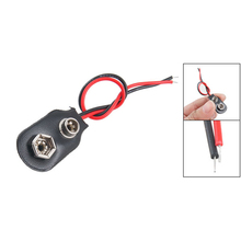 WSFS Hot Sale 3 pcs Leather Shell 9V 9 Volt Battery Clip Connector Cable