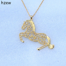 hzew run horse necklace gift big 7cm*4.5cm cute horse Horse pendant necklace