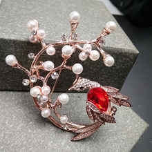 Cindy Xiang Chinese Traditional Bird Phoenix Brooches for Women Red Crystal Brooches Pin Fashion Jewelry Wedding Accessories