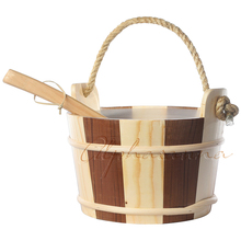 Free shipping 4L Sauna pail and ladle Red Cedar& Pine combined with linner Factory Sauna accessories, Wholesaler, Sauna Dealer(China)