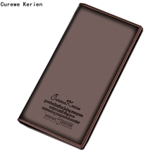 2017 Luxury Brand High Quality Leather Men Long Bifold Wallet Purse Vintage Designer Male Carteira Money Clip slim wallet#25(China)