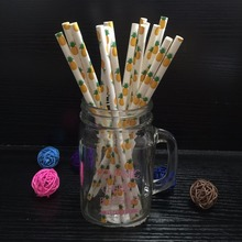 25pcs/pack Hawaii Pineapple Paper Straws Mixed Kids Birthday Wedding Decorative Party Decoration Event drinking Paper Straws