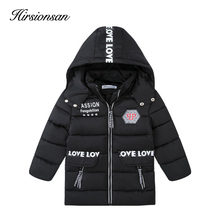 Hirsionsan 2017 Winter Down Jacke for Girls&Boys Hooded Zipper Mid-Length Thicker Cotton Coat Outwear Children's Winter Clothes