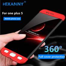 luxury 360 degree protection case for one plus 5 full cover plastic pc matte hard phone cases for one plus 5 phone shell(China)