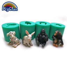 4 style Spotted dog silicone fondant cake rabbit decorating tools animal candy making modeling monkey and Gorilla chocolate mold(China)