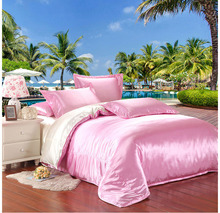 Pink and milk white two sides silk bedding set satin silk bed linen silk quilt cover with zipper bed sheet pillowcases 5034