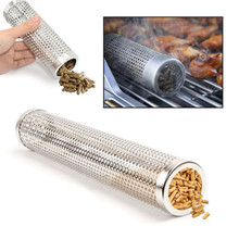 Fashion BBQ Stainless Steel Perforated Mesh Smoker Tube Filter Gadget Hot Cold Smoking BBQ Tools(China)