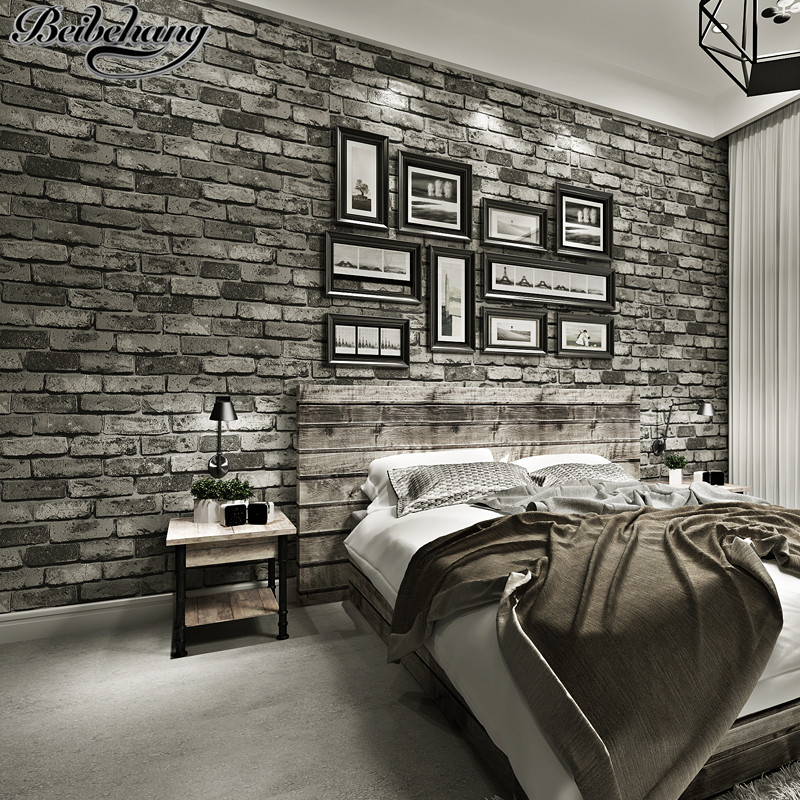beibehang Retro Chinese Style 3D Stereo Brick Nonwoven Wallpaper Red Brick Gray Brick House Background Wallpaper Papel de parede<br>