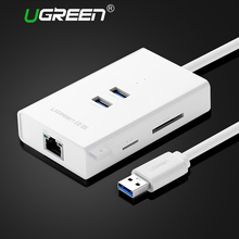 Ugreen 2 Ports USB 3.0 HUB with TF SD Card Reader USB Ethernet Adapter Lan RJ45 Gigabit Network Card for Window Mac Hubs Usb 3.0(China)