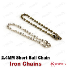 (25144)50PCS Chain beads 2.4MM,Each 11.5CM Iron Short Ball Chains for Connect Charms Diy Jewelry Findings Accessories
