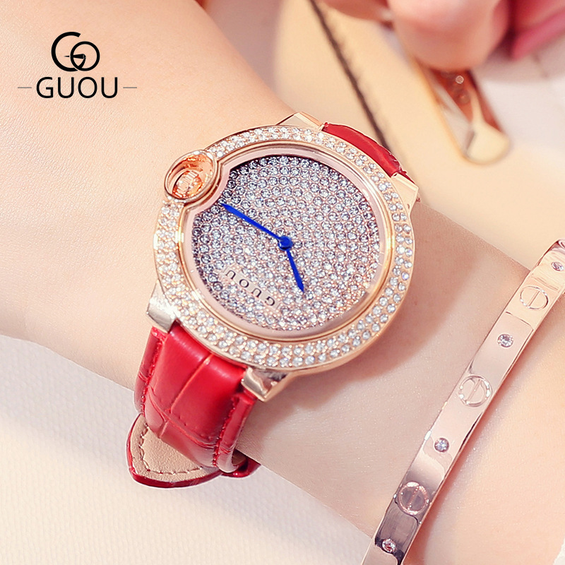 Luxury GUOU Full Crystal Women Watches Ladies Fashion Genuine Leather Hardlex Dress OL Shockproof Wristwatch Female Clock<br>
