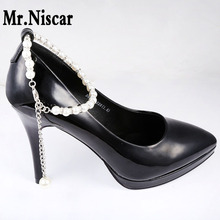 Mr.Niscar 1 Pair High Heels Fashion Pearl Beading Shoe Accessories for Women Shoes Welding Zircon Buckle Shoes Decoration(China)
