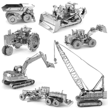 3D Metal Puzzles for children Adults Model Jigsaw Metal Tractor Crane Mining Truck crawler dozer Excavator wheel loader puzzles