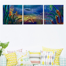 3 Panels Modern Blue Seabed Seascape Painting On Canvas Print Home Kids Bedroom Decor Picture Wall Hanging Artwork No Frame