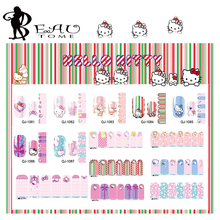 Beautome 1Sheet 2016 Hello Kitty Nail Stickers Cute Cartoon For Nail Art Decoration Full cover Nail Decals Tips Pink QJ1081