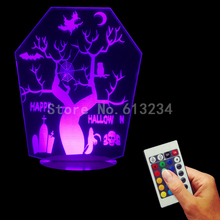 Free Shipping 1Piece Hallowmas Decor 3D Light Edge Lit Signs Horror Plexiglass USB Remote Controlled Table Lamp Halloween Gift