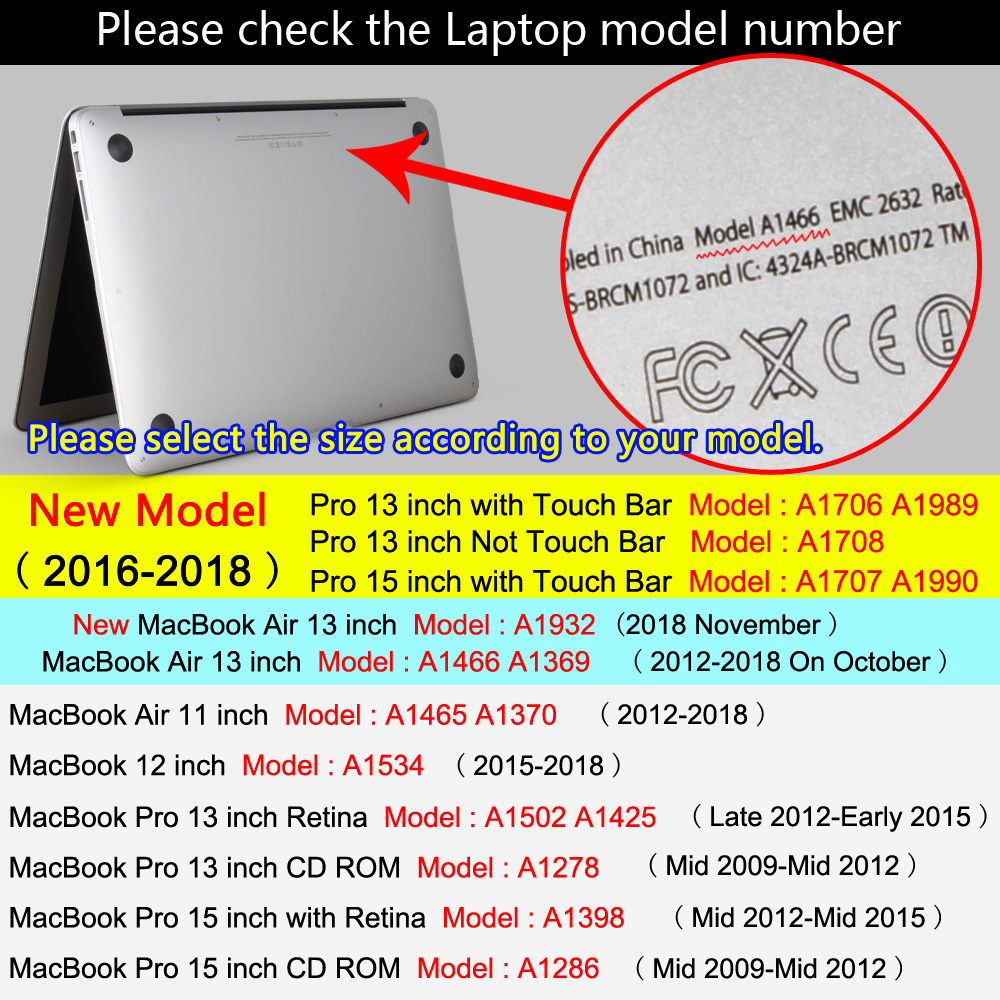 YWVAK HOT Sell laptop Case For Apple macbook Air Pro Retina 11 12 13 15 For Mac book 13.3 inch with Touch Bar +gift