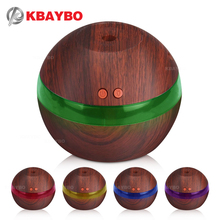 USB Ultrasonic Humidifier, 300ml Aroma Diffuser Essential Oil Diffuser Aromatherapy Mist Maker with 7 Color LED Light Wood grain