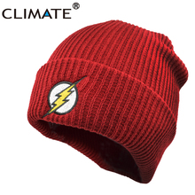 CLIMATE Men Women Winter Warm Beanie Hat 2017 New Flash Hero Soft Red HipHop Warm Knitted Red Caps Hat For Men Women Teenager(China)