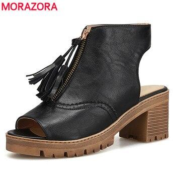 Morazora 2017 marca de moda plataforma de dedo aberto das mulheres do salto quadrado sandálias causal retro encontros com mulheres sandálias sapatos casuais
