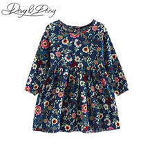 DAVYDAISY Pretty Girls Dress Lovely Floral Print Long Sleeve Flower Kids Dress Baby Girl Clothes Princess Dresses 2-8Y WD-014(China)