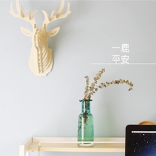 Wooden Wall Hanging Deer Head Elk 3D DIY Model Wood Animal Wildlife Sculpture Figurines Gift Crafts Home Decor Crafts YL971263(China)