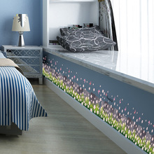 Pink flowers on the foot line wall stickers kitchen bathroom wall decoration painting green PVC stickers