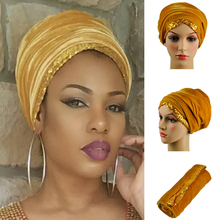 Queency Newest African headwrap and scarf,Sequins soft African headtie, african turban,Inidan turban gele for women headtieHQT07