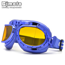New BJMOTO Scooter Motocross Goggle Motorcycle Cycling Cruiser Steampunk Glasses For Moto Helmet Open Face Half(China)