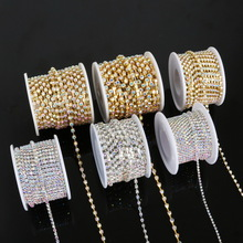 SS6-SS18 Crystal AB Color Sliver Base Sew-on Rhinestone Chain Plating Cup Chain Trimming Apparel Style Sewing Accessories