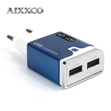 AIXXCO Power plug Aluminum 5V 2A Dual 2 port USB EU Adapter Best Wall Charger For iPhone 6 puls iPad Pro SAMSUNG HTC(China)