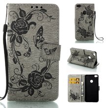 Wallet Case Cover for Huawei P8 Lite 2017 / Honor 8 Lite / P9 Lite 2017 Flip Book Phone Case W/ Carry Strap PU Leather Butterfly