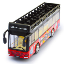 Big Size Double layer Metal Bus Model Pull Back Vehicles Collection Toys Light Electronic Diecast Bus Model Kids Birthday Gifts