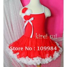 Christmas Red White Petti Dress with Bunch Rosettes & Bow / Dance Tutu / Party Dress 3 Size 1-7Y