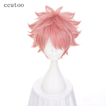 ccutoo 30cm Pink Short Shaggy Layered Fluffy Synthetic Hair High Temperature Fiber Cosplay Wig Men's Halloween Party Costume Wig(China)