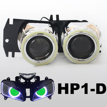 KT Headlight Fits for Honda CBR1000RR 2004-2007 LED Angel Eyes Green Demon Eyes Motorcycle HID Bi-xenon Projector Lens 2005 2006