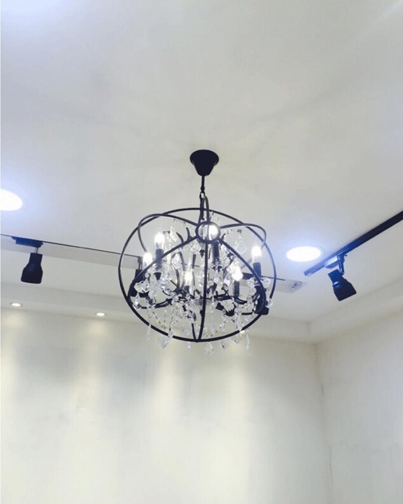 Retro pendant crystal iron ball shape Lamp E14 Nordic industry Vintage Loft american country Art _1Ceiling Lamp-18