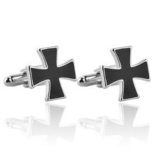 1 Pair Classical Fashion Black Cross Cufflinks Men's Easter Day's Gift Cross Cuff Links Fashion Religious Christian jewelry(China)
