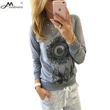 Avodovama M Fashion 2017 Long Sleeve Cotton Feathers Print O-neck Blouses Women Tops Spring and Summer Shirt(China)