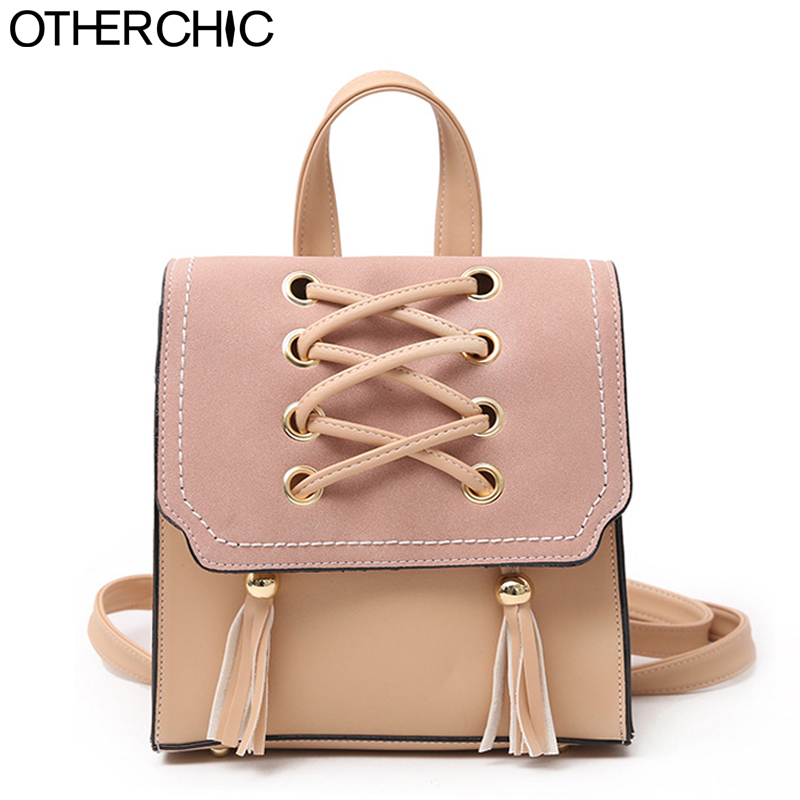 cfc0a3a25f OTHERCHIC Brand Fashion Backpack Mini Women Casual Faux Leather Women  Backpacks Tassel Small Girls Daypack Drop
