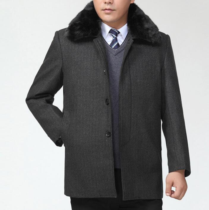 Male turn-down collar single-breasted woolen coats mens overcoat quinquagenarian autumn winter detachable collar coat men grey