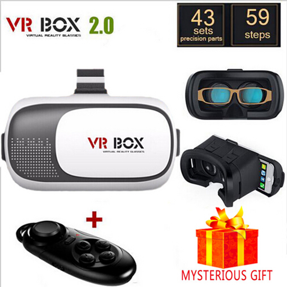 VR BOX II V2 Virtual Reality Lunette 3D Glasses Goggles Google Cardboard 2.0 3 D Vrbox Remote Gamepad for iPhone Samsung Android(China (Mainland))