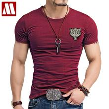 2017 Brand Men's Wolf embroidery Tshirt Cotton Short Sleeve T Shirt Spring Summer Casual Men's O neck Slim T-Shirts Size S-5XL(China)