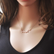 Personalized Name Necklace, signature necklace, Rose gold color necklace, custom name, name Jewelry(China)