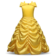 Children's Clothing Girl Christmas Party Costume Cosplay Dress Up Fantasy Baby Kids Ball Gown Belle Princess Yellow Long Dresses(China)